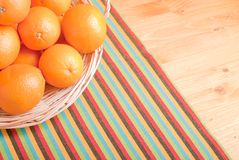 Beautiful ripe oranges on the table and a yellow orange backgrou Royalty Free Stock Photo