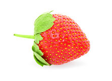 Beautiful ripe strawberry with leaves and stalk Isolated on whit Royalty Free Stock Photo