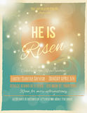 Beautiful He is Risen Easter flyer. Bright and shining He is Risen Easter Sunrise Service Flyer or poster template stock illustration
