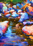 Beautiful river amongst colorful stones. Digital painting stock illustration