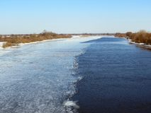 River Atmata and birds  in winter, Lithuania Stock Images