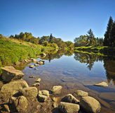 Beautiful river in the autumn day Royalty Free Stock Image