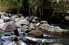 Beautiful River clear water flowing through stones and rocks Royalty Free Stock Images