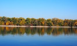 Beautiful River Danube. With autumn trees stock images