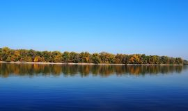 Beautiful River Danube. With autumn trees royalty free stock image
