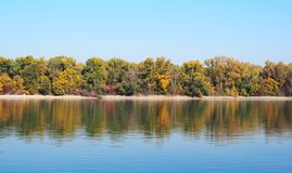 Beautiful River Danube. With autumn trees stock photography
