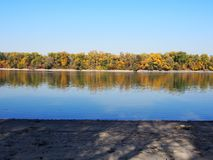 Beautiful River Danube. With autumn trees stock photo
