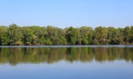 Beautiful River Danube. River Danube near city of Csepel, Hungary stock photo