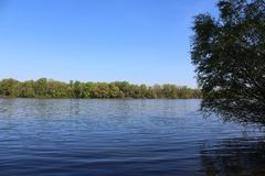 Beautiful River Danube. River Danube near city of Csepel, Hungary stock images