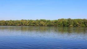 Beautiful River Danube. River Danube near city of Csepel, Hungary stock photography