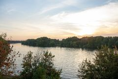 Beautiful river embankment in Moscow city on a sunset royalty free stock image