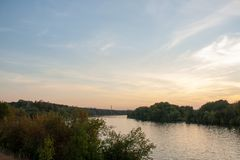 Beautiful river embankment in Moscow city on a sunset stock images