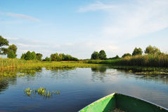 Beautiful river landscape. Beautiful green and blue day river landscape Royalty Free Stock Image