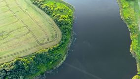 Beautiful river landscape. Aerial view stock footage