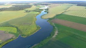 Beautiful river landscape. Aerial view stock video