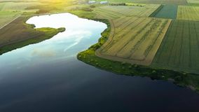 Beautiful river landscape. Aerial view stock video footage