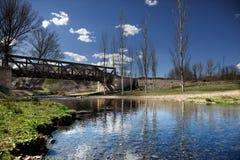 Beautiful river landscape with railroad iron bridge Stock Photos
