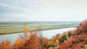 The beautiful river landscape of the river Nederrijn at the Driel dam in Gelderland. In The Netherlands royalty free stock photography