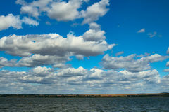 Beautiful river landscape and the of the sky with clouds Royalty Free Stock Image