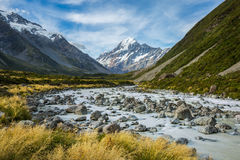 Beautiful river and mountain landscape in Mount Cook National Pa Royalty Free Stock Image