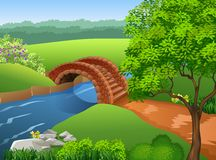 Beautiful river on nature background. Illustration of Beautiful river on nature background stock illustration