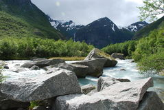 Beautiful river in Norway. The green valley Stock Photos
