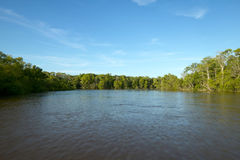 Beautiful river scene and blue sky with no people. A beautiful waterway landscape scene of the Altamaha river with a vibrant, clear blue sky and surrounding royalty free stock image