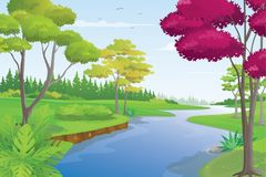 Beautiful River Scenery in Summer Day, Vector Illustration. River and Valley Landscape with Pine Forest and Blue Sky Royalty Free Stock Photography