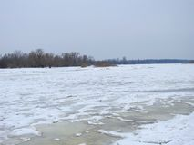 River Skirvyte in winter, Lithuania Royalty Free Stock Photography