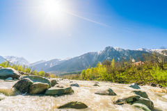 Beautiful  River and snow covered mountains landscape Kashmir st Stock Images