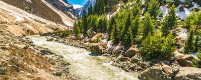 Beautiful  River and snow covered mountains landscape Kashmir st Royalty Free Stock Image