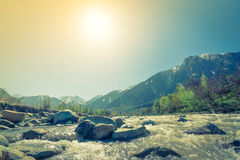 Beautiful  River and snow covered mountains landscape Kashmir st Stock Image