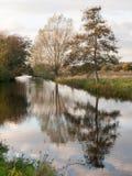 Beautiful river stour lake autumn trees reflection countryside Stock Photo