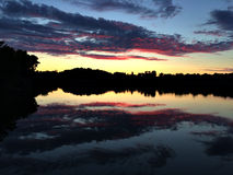 Beautiful river in Sunset with reflection in water royalty free stock images