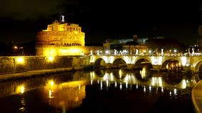 Beautiful River Tiber in Rome by night - with famous Castel Sant Angelo stock footage