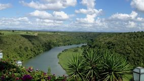 Beautiful river in tropical forest. Top view stock footage