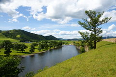 Beautiful river under blue sky royalty free stock photos