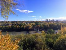 Beautiful river valley in Edmonton, Alberta on a lovely fall day. With the leaves changing colour royalty free stock images
