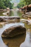 Beautiful River water flowing through stones and rocks Royalty Free Stock Photos