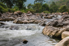 Beautiful River water flowing through stones and rocks Royalty Free Stock Photography
