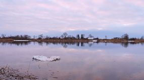 River atmata, plants and homes in winter, Lithuania Royalty Free Stock Photography