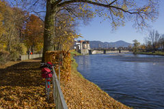 Beautiful riverside in bad tolz, scenic autumn landscape Stock Images