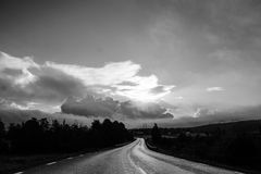The open road. The beautiful road in black white Royalty Free Stock Photos