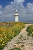 Beautiful Road through the blooming field to the lighthouse Royalty Free Stock Photo