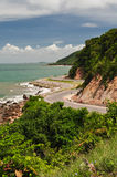 The beautiful road in Chantaburi Thailand. The beautiful road between mountain and sea  in Chantaburi Thailand Stock Photography