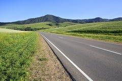 Beautiful road among farm fields Stock Image
