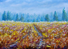 Beautiful  Road through field landscape. Modern far forest impressionism painting. Original oil painting field on canvas. Beautiful  Road through field Stock Photos