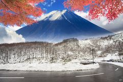 Beautiful Road In Mountain With Nice View Of Snow In Spring Stock Photos