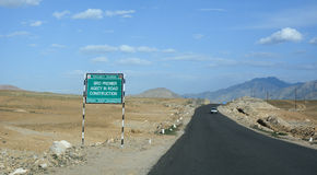 Beautiful road with mountain in Ladakh Royalty Free Stock Image