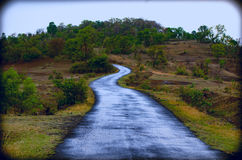 Beautiful Road. A rain soaked road in Sahyadri Mountain Range of Western Ghats in India during summer of 2014 Stock Photo